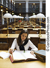 婦女, library., 學習