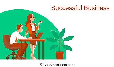 婦女, process., 插圖, 工作, 人, 事務