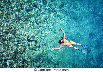 婦女, snorkeling, 在, 熱帶, 海水