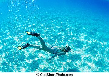 婦女, snorkeling, 在, 熱帶, 海洋