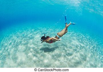 婦女, snorkeling, 在, 熱帶, 海