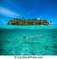 婦女, snorkeling, 在, a, 熱帶