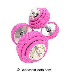 婦女, strength:, 粉紅色, 對, ......的, dumbbells