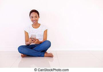 婦女, texting, 年輕, 電話, 美國人, african, 聰明