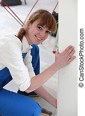 婦女, wallpapering, 前面室