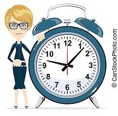 婦女, work., 事務, 警報, clock., 藏品, 時間, management.