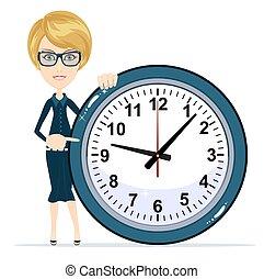 婦女, work., 事務, clock., 藏品, 時間