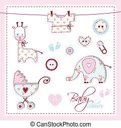 婴儿淋浴, 元素, 设计