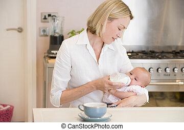 婴儿, 咖啡, 喂养, 厨房, 妈妈