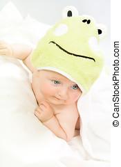 婴儿, 在中, 绿色, 兜帽