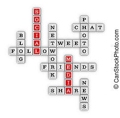 媒介, 社会, puzzle., 网络, 拼字游戏