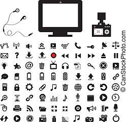 媒体, アイコン, 技術, セット