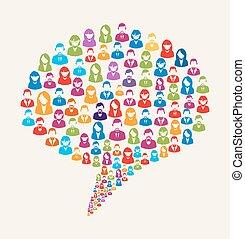 媒体, スピーチ泡, ユーザー, 社会