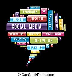 媒体, スピーチ泡, 社会