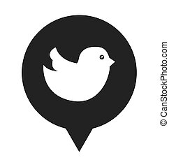 媒体, スピーチ泡, 鳥, 社会
