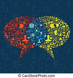 媒体, スピーチ, 相互作用, 泡, 社会