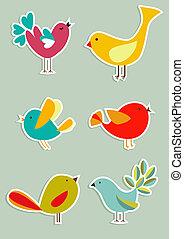 媒体, セット, 鳥, 社会