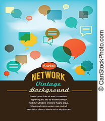 媒体, ネットワーク, 型, コミュニケーション, スタイル, 社会