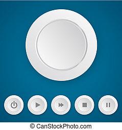 媒体, プレーヤー, 白, 押しボタン