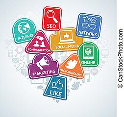 媒体, ベクトル, 社会, ステッカー, マーケティング, アイコン, インターネット