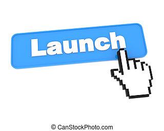 媒体, ボタン, -, launch., 社会