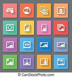 媒体, 写真, カラフルである, アイコン