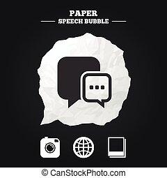 媒体, 地球, icons., スピーチ, チャット, 社会, 泡