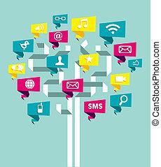 媒体, 木, ネットワーク, ビジネス, 社会