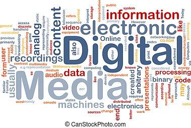 媒体, 概念, 背景, デジタル