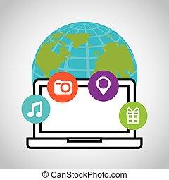 媒体, 社会, ネットワーク, アイコン