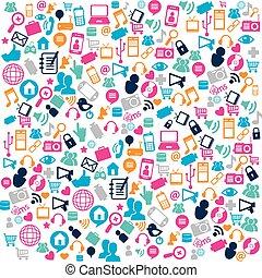 媒体, 社会, パターン, アイコン
