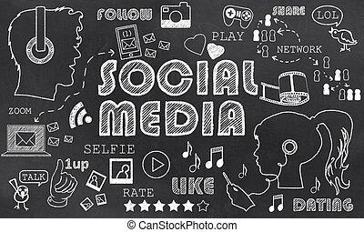 媒体, 社会, 黒板