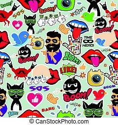 媒体, 社会, seamless, 手ざわり, 他, 落書き, icons., サイン, 光沢がある