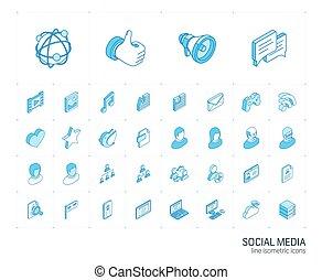 媒体, icons., ベクトル, 線, 社会, 3d, 等大, ネットワーク