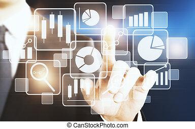 媒体, touchscreen, 概念, 技術