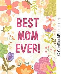 媽媽, 設計, 曾經, 卡片, 母親, 最好, 天