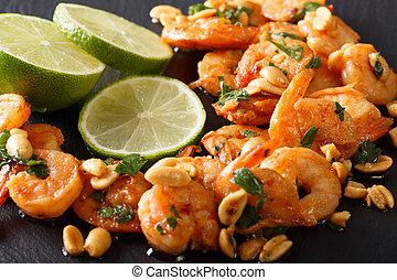 嫩煎菜肴, 蝦, 由于, 花生, 石灰, 以及, 綠色, macro., 水平