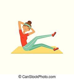 嬉戏, 妇女, 腿, 色彩丰富, 工作, 地板, 俱乐部, 体育馆, 坐, 性格, 年轻, 描述, 她, 矢量, 摇摆, 健身, 女孩, 或者, 在外