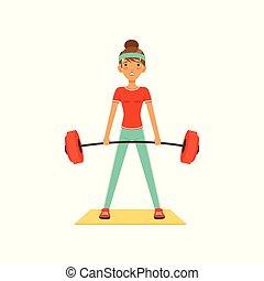 嬉戏, 妇女, 色彩丰富, 工作, 俱乐部, 体育馆, 性格, 年轻, 描述, 矢量, 健身, 女孩, barbell, 或者, 举起, 在外