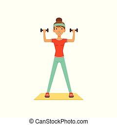 嬉戏, 妇女, 色彩丰富, 工作, 俱乐部, 体育馆, 性格, 年轻, 描述, 练习, 矢量, 健身, dumbbells, 女孩, 或者, 在外