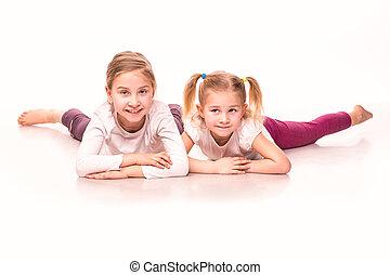 嬉戲, 女孩, 上, a, 地板, 被隔离, 在上方, 白色
