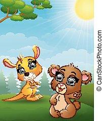 嬰儿袋鼠, 叢林, 熊, 卡通