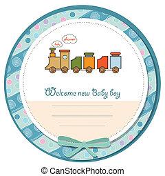 嬰兒送禮會, 卡片, 由于, 玩具火車