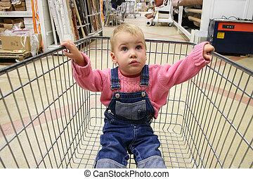 嬰孩, 在, 商店, 車