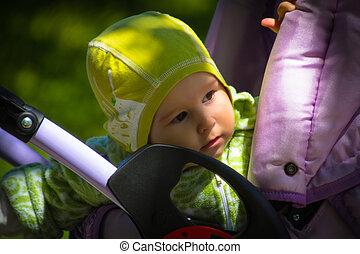 嬰孩, 在, 車