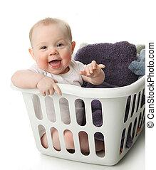 嬰孩, 在, a, 洗衣籃