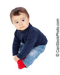 嬰孩, 坐, 可愛, 被隔离, 地板