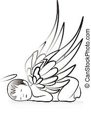 嬰孩, 天使, 黑色半面畫像, 標識語