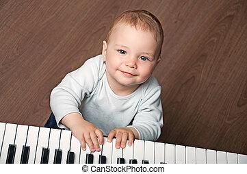 嬰孩, 玩, 白色, 黑色的鋼琴