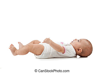 嬰孩, 躺, 上, 她, 背